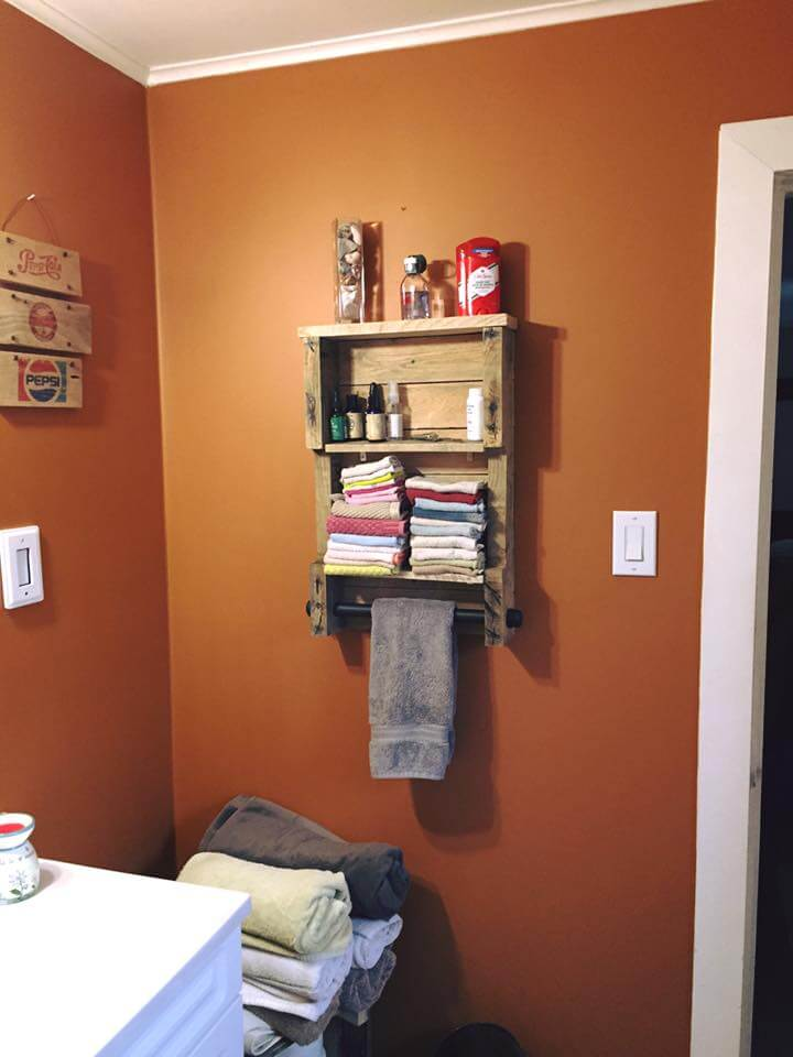 pallet towel rack with shelves