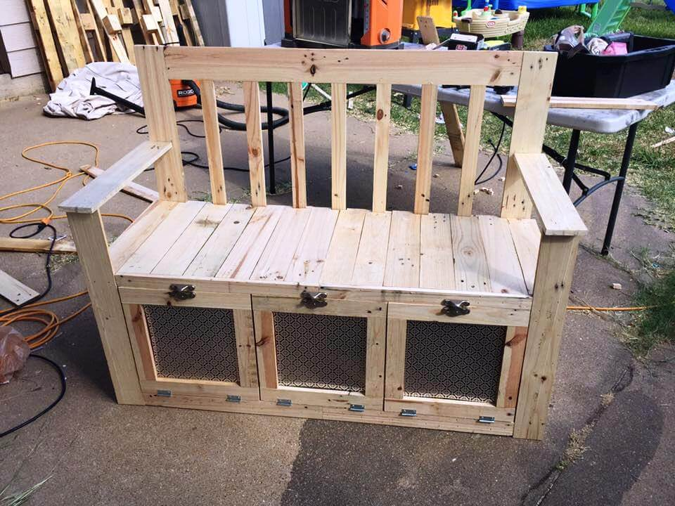 custom-built wooden pallet bench with storage